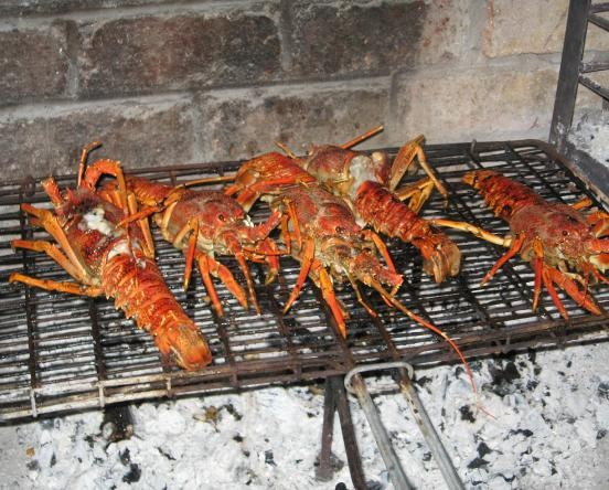 fresh west coast crayfish braai (barbecue)