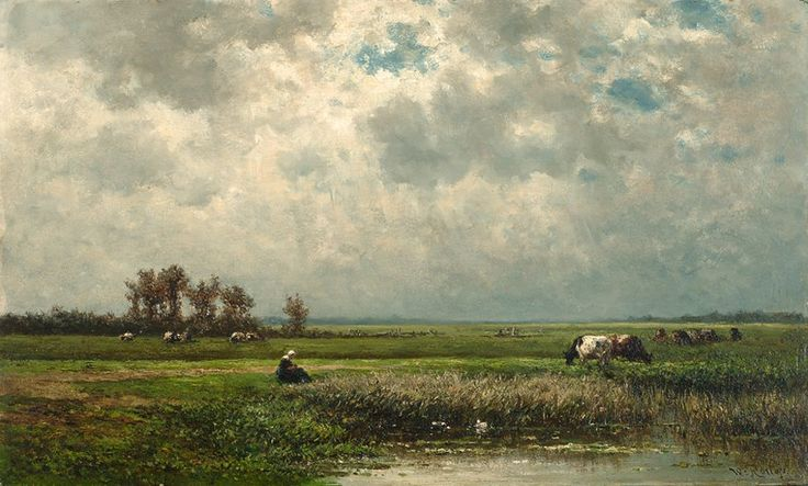 Seduced by Willem Roelofs' lights: Zomers polderlandschap met grazende koeien