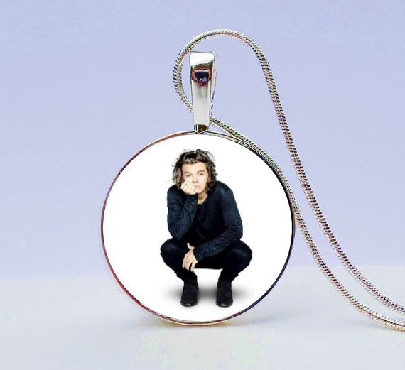 One Direction Harry Styles necklace  One by GirlPowerPendants -Are you a One Direction Fan...and maybe Harry Styles is your FAVE?! Wear this awesome photo necklace where he looks as cute as ever! Also makes a super gift for a One Direction Harry Styles Fan.