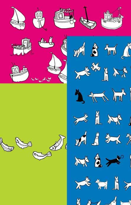 New range of tea towels featuring Helen Elliott's dogs, boats and houses.  www.helenelliott.net