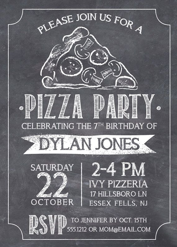 Pizza Party Invitation Chalkboard Pizza Invite by swankypress