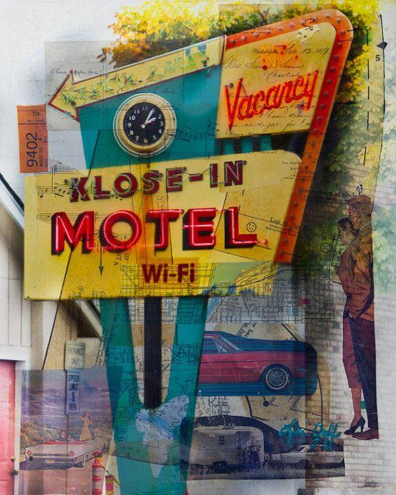 The Wi-Fi Motel Mixed Media art Mid-Century Modern Retro Print, $20.00 for an 8x10 paper print!