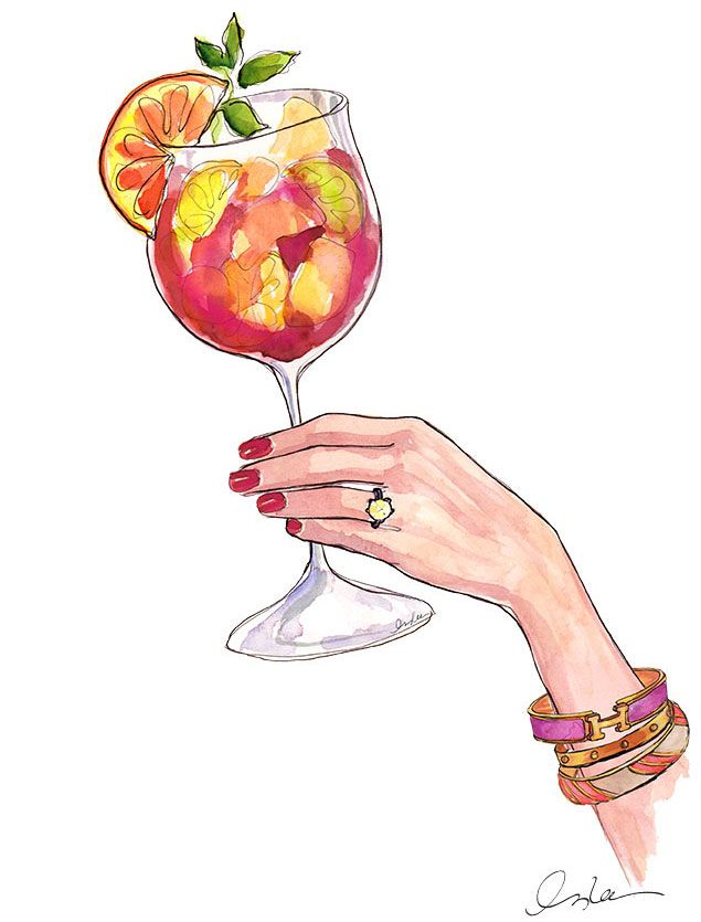 Our favorite It Girl illustrator Inslee Haynes continues the Hermes love in our next illustration. How can we resist a drawing that features not only our favorite Cartier Love bangle, but a punchy Hermes bangle and a canary diamond engagement ring to boot? Answer – we can't. Pass the sangria indeed.