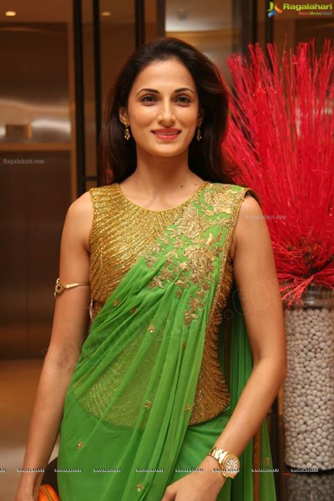 Designer Shilpa Reddy wearing her own creation, pre pleated sari with a corset blouse