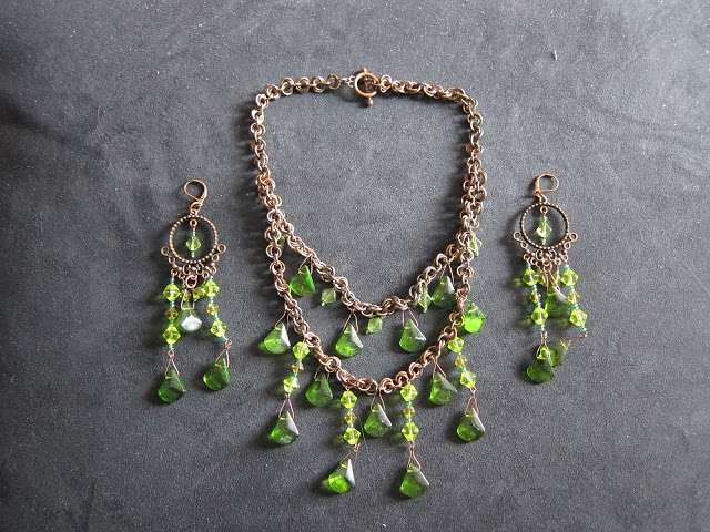 Green Glass and Copper Set