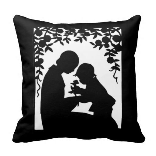 Silhouette Black and White Pillow