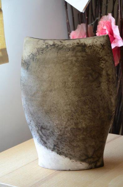 smoke fired vase