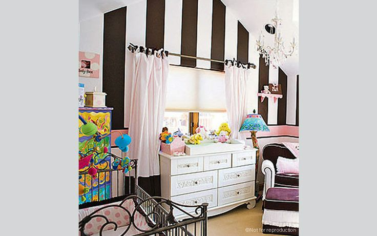Love the bold stripes in Trista Sutter's nursery featuring our very own casablanca premiere baby crib and chelsea dresser/changer