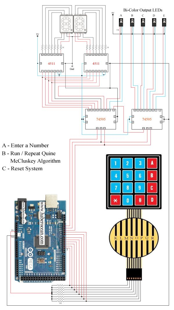 Circuit to Implement Quine-McCluskey Algorithm using Arduino Mega  Read more at:  http://www.haberocean.com/2015/03/quine-mccluskey-algorithm-implemented-using-arduino-mega-part-1/