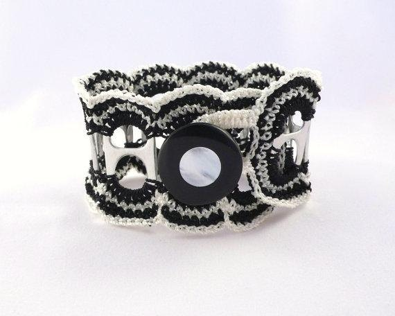 Black & White Crochet Ruffle Recycled Pop Tab Cuff with Vintage Button. via Etsy.