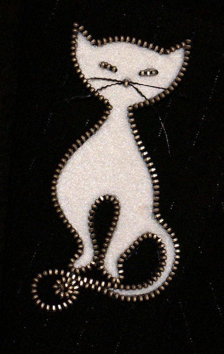White Cat original designer zipper and felt handmade brooch by 3latna on Etsy https://www.etsy.com/listing/128500613/white-cat-original-designer-zipper-and