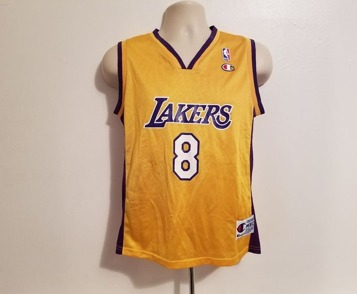 Los Angeles Lakers Kobe Bryant #8 Yellow Vintage Champion Jersey Size M 10-12 #Champion #LosAngelesLakers