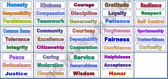 Printables Six Pillars Of Character Worksheets pillars of character worksheets davezan six davezan