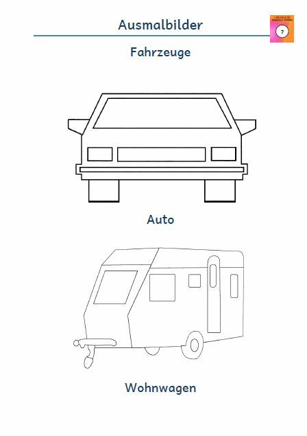 kostenloses arbeitsblatt ausmalbild auto wohnwagen