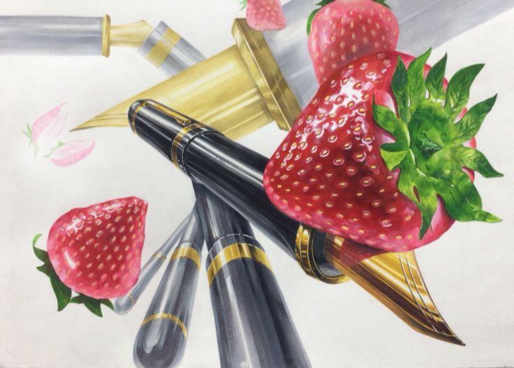 기초디자인 딸기 만년필