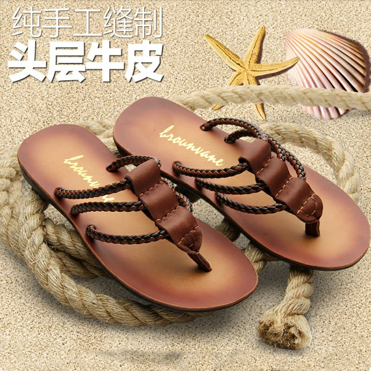 New 2014 Trend summer genuine leather slip-resistant plus size beach flip-flop shoes men's beach slippers supper cool, Free Ship