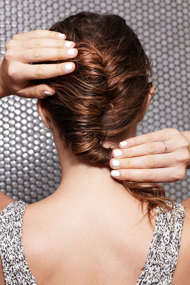 """No Time To Blowdry? You Need These 4 Wet-Hair Looks #refinery29  http://www.refinery29.com/how-to-style-wet-hair#slide-3  Gather all the hair at the crown of the head like you were going to make a ponytail and — this is the really important part — roll it down toward the nape of the neck. """"With traditional French twists, you roll up to create height. But this is lower and more lopsided. Have fun with it,"""" says Fugate...."""
