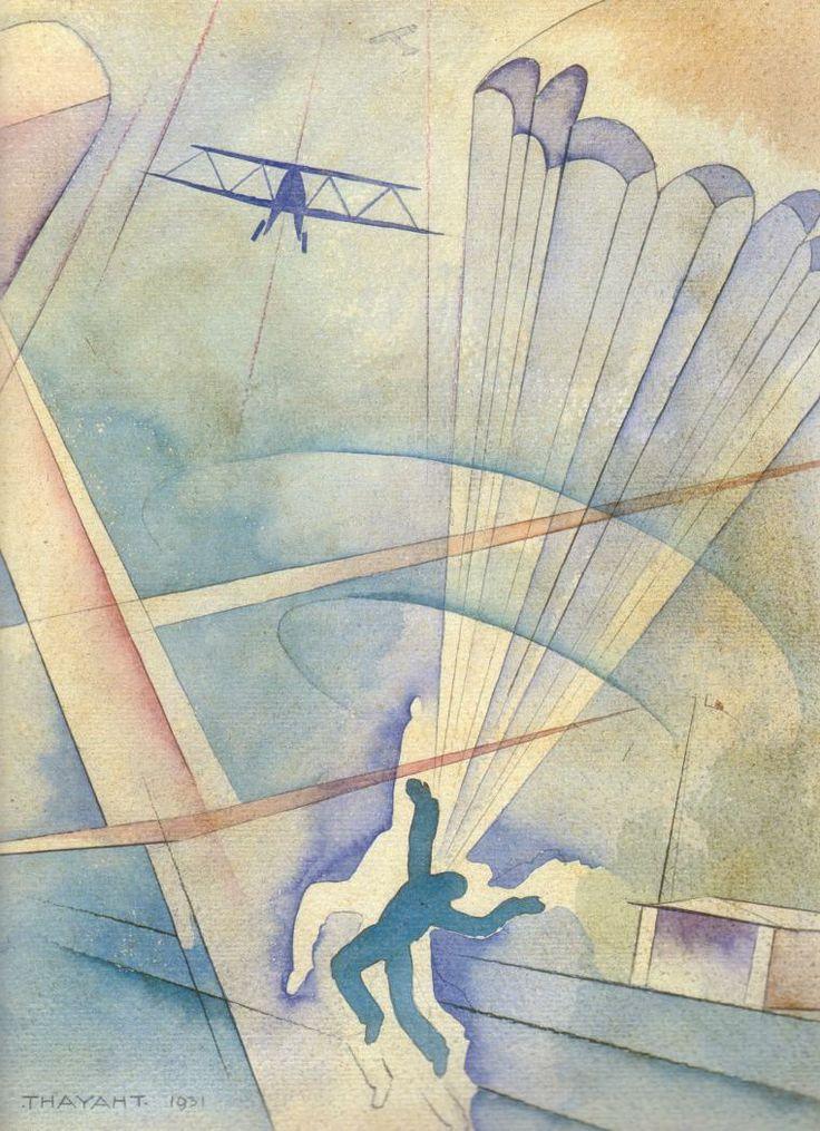 THAYAT , 1930 Paracadutista. Aeropittura