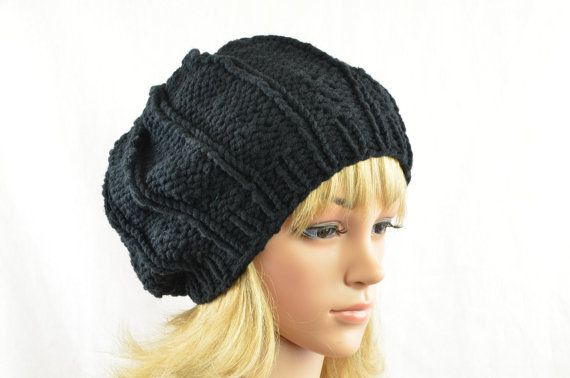one of my bestseller hats - slouchy knit hat in black for women for winter from AngisWollBobbl