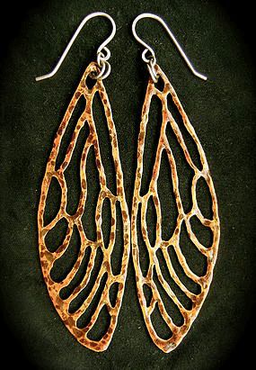 Cicada Wing Earrings.  New Zealand is familiar with their chirps and clicks at the end of summer... and their gorgeous wings.  Made of reclaimed copper.  Hand cut, sanded and polished.