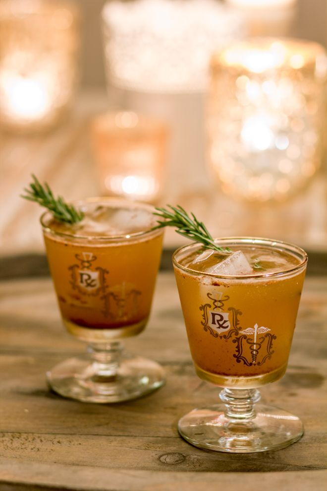 Bourbon Bomber Make it:  3/4 cup apple cider  1/4 cup bourbon  1 1/2 tsp agave nectar  1/2 tsp all spice  1/2 tsp lemon zest  1/2 tsp nutmeg, grated  drop of bitters  pinch of grated ginger  rosemary sprig, for garnish