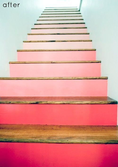 escalier bois peint en rose Escalier peint 17 Idées peinture escalier