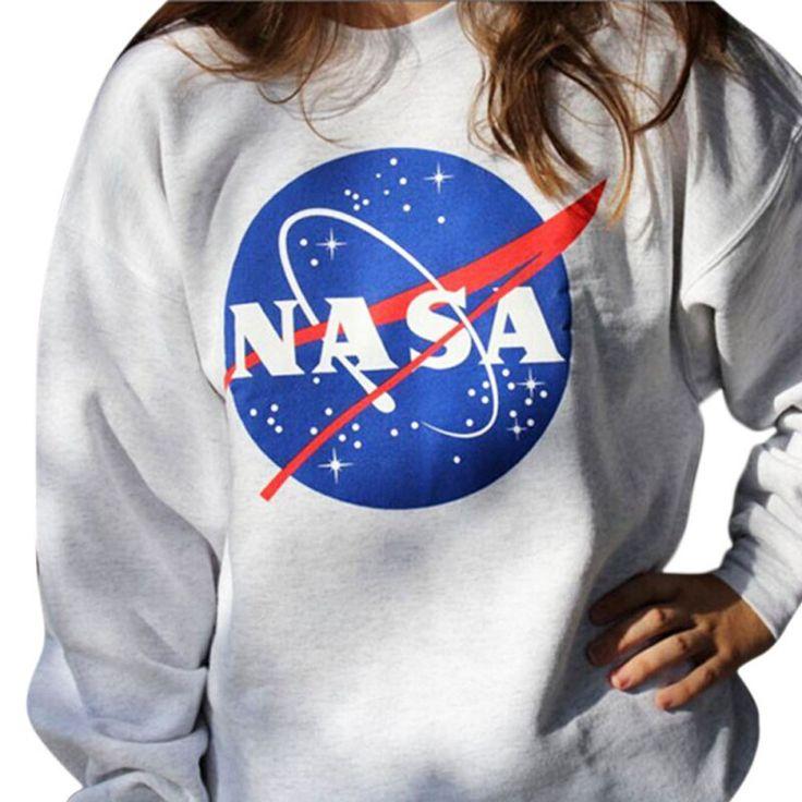New Sweatshirt Women NASA Printed Pullover Sweatshirt Loose Jumper Baseball Tee Tops