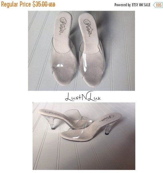 #Sold Off to #PalmBeach ON SALE 40% OFF 6 / Clear High Heel Shoes / Plastic and Lucite / by Pleaser / Stripper Dance Shoe