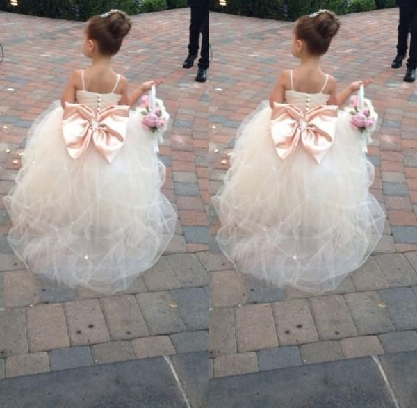 Infant Flower Girl Dresses Pageant Dresses For Girls Spaghetti Sleeveless Flower Girl Dresses White Ivory Champagne Kids Ball Gowns Wedding Dress Sash Beading Belt Dresses For Girls For Weddings From Forever_love_u, $56.55| Dhgate.Com