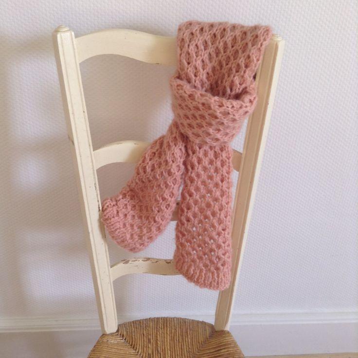 écharpe tricotée nid d'abeille