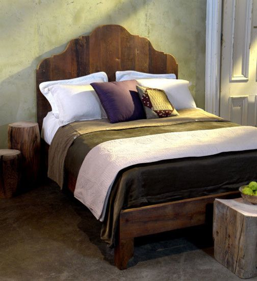 reclaimed pine bed frame design with headboard in antique look concrete floors concrete walls treeu0027s trunk