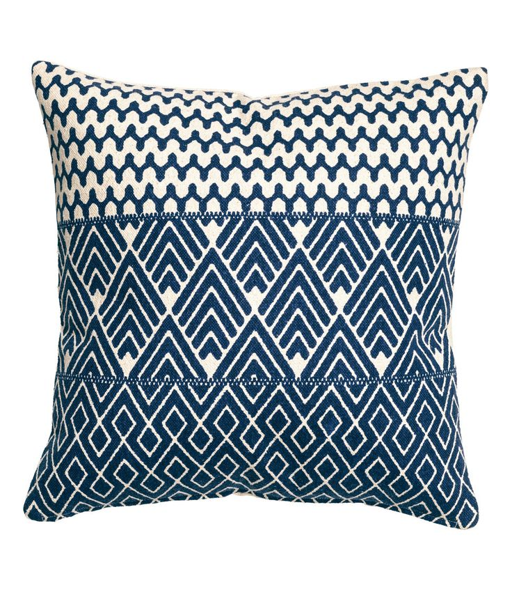 Check this out! Cushion cover in thick, woven cotton fabric with a printed pattern at front and solid color at back. Concealed zip. - Visit hm.com to see more.