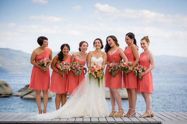Lake Tahoe wedding ideas an inspiration. Coral pink bridesmaids dresses