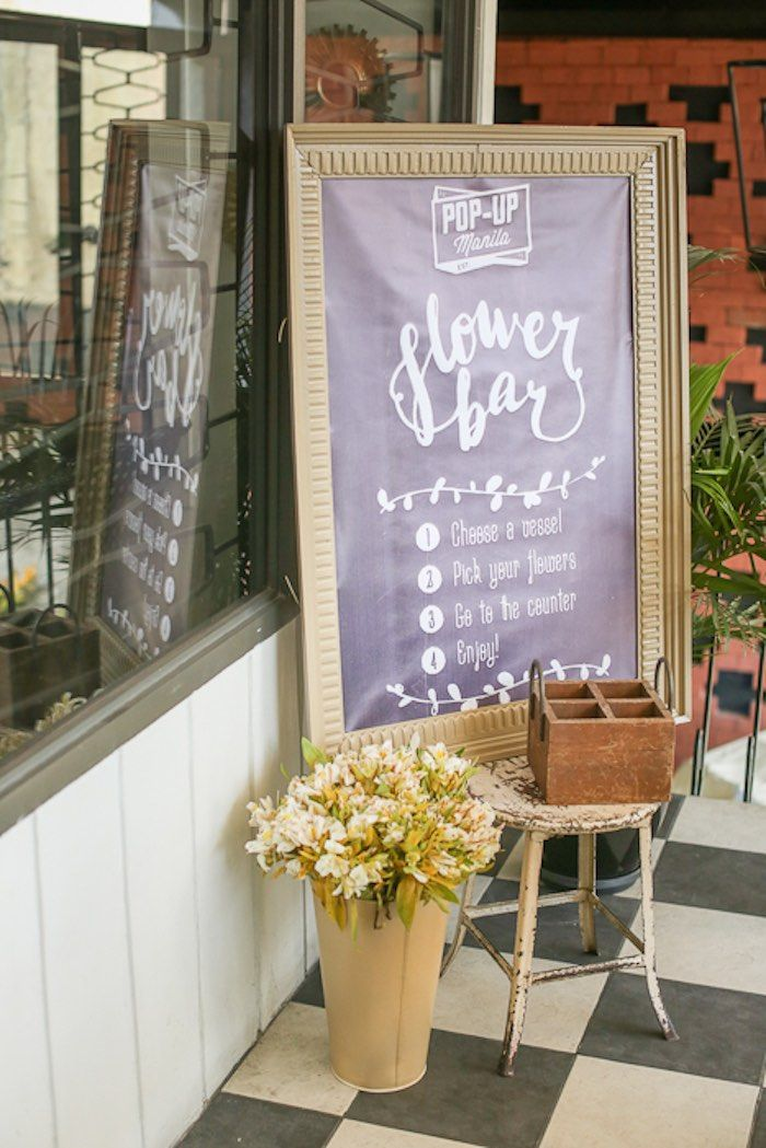 Flower Bar from a Vintage Hipster Pop Up Flower Shop Party via Kara's Party Ideas | KarasPartyIdeas.com (38)