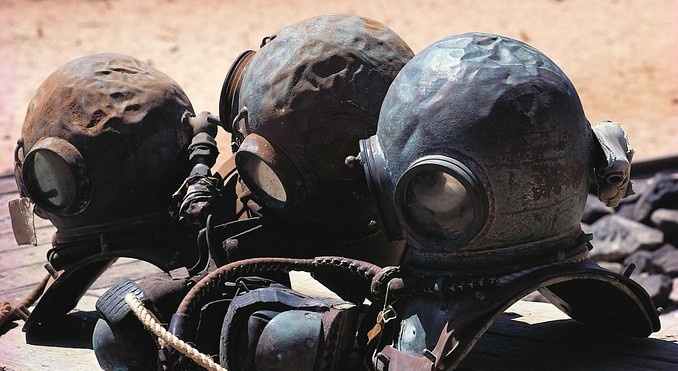 Broome, Western Australia -- Pearl Diver's Helmets.