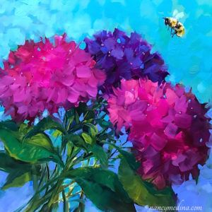All Abuzz Pink Hydrangeas and Solo Bee - 16 x 16 - SM