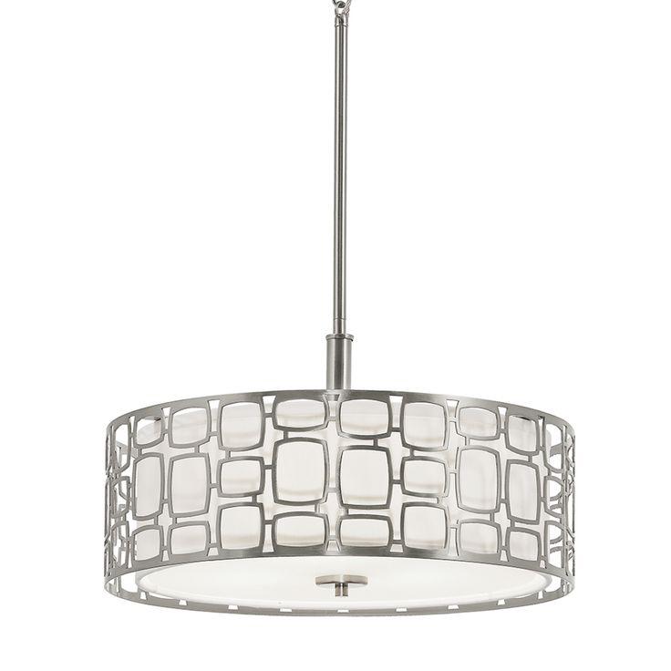 Kichler Lighting Sabine 1799 In Brushed Nickel Art Deco Single Etched Glass Drum Pendant