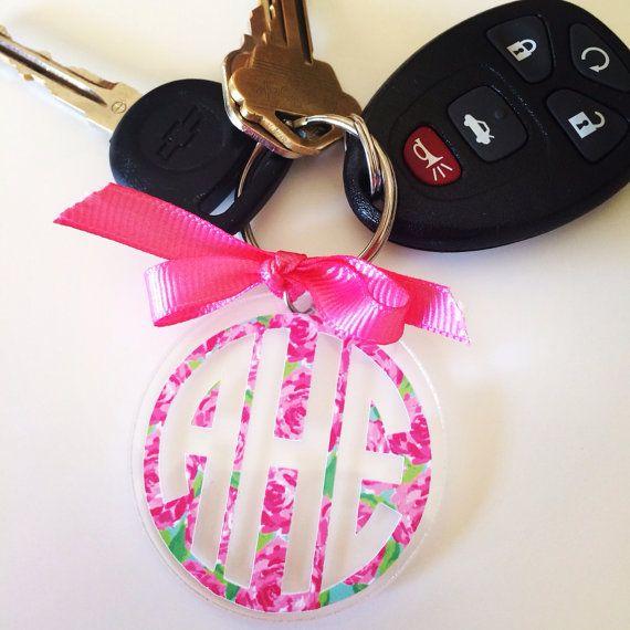 Lilly Pulitzer Monogram Keychain by GirlAndHerDogShop on Etsy, $11.00