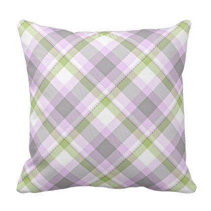 Pink Violet Purple Lime Green White Tartan Plaid Throw Pillow - girly gifts special unique gift idea custom