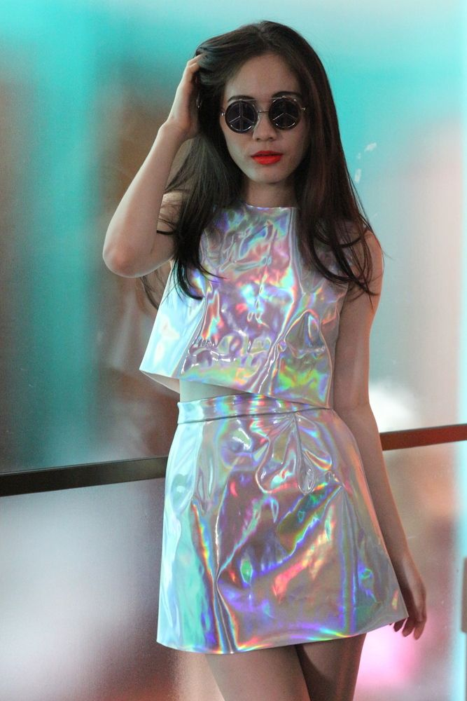 Image of Made To Order - Holographic Motel Top & Skirt Set