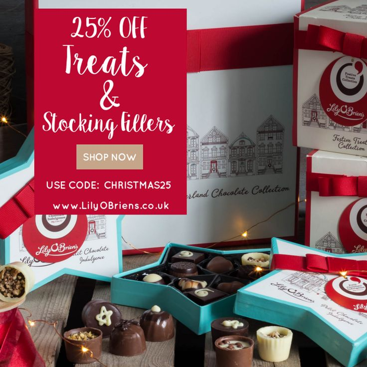 25% off all chocolates at LilyOBriens.co.uk! Add code CHRISTMAS25 to your shopping bag. FREE UK Delivery on orders over £30