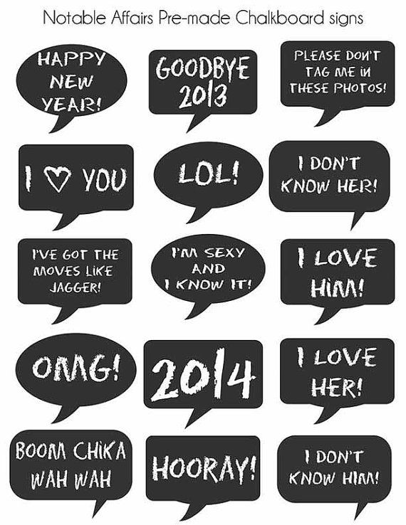 Premade Chalkboard Signs for New Year's or New Year's Eve Parties