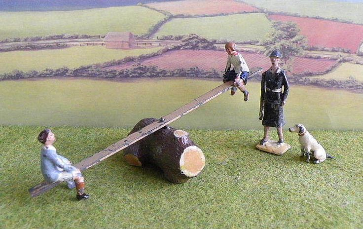 Vintage 54mm Lead Farm / Garden BOY & GIRL on SEE SAW + MOTHER + DOG - Britains #Britains