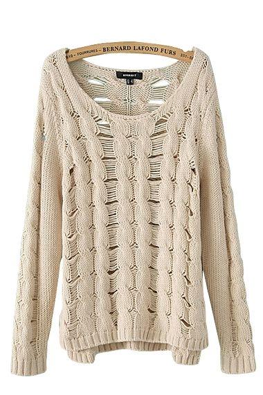 Love Love Love! Twist Wave Long Sleeve Loose Knit Sweater #Twist #Wave #Loose #Knit #Sweater #Fashion