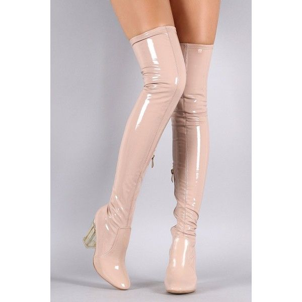 Patent Leather Chunky Lucite Heeled Over-The-Knee Boots ($82) via Polyvore featuring shoes, boots, patent boots, chunky-heel boots, above knee boots, lucite boots and over knee boots