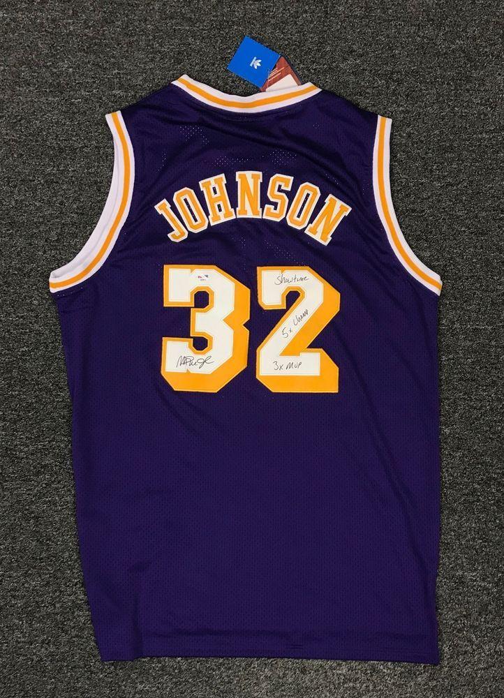 64618f7768f Magic Johnson #32 Signed Multi Inscription Lakers Jersey Sz XL PSA/DNA COA  HOF