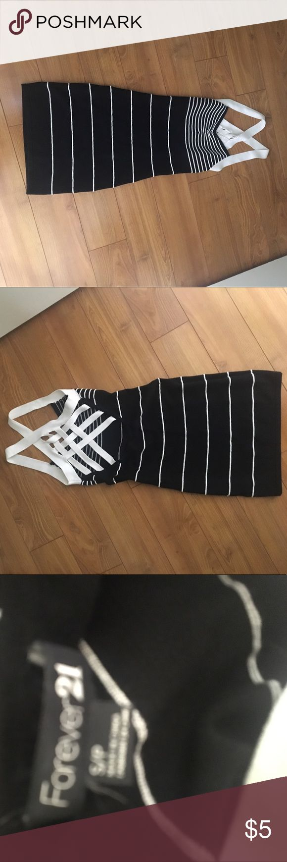 F21 short black & white dress! Tight fitting dress for a night out! Worn a few times. Forever 21 Dresses Mini