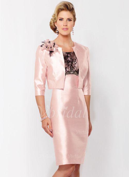 Kleider für die Brautmutter - $125.60 - Etui-Linie U-Ausschnitt Knielang Taft Kleid für die Brautmutter mit Spitze Perlenstickerei Blumen (0085124316)