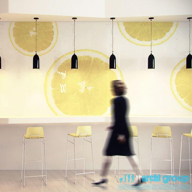 Cafe design 'Lemon Bar', POLAND - archi group. Kawiarnia z pijalnia soków.