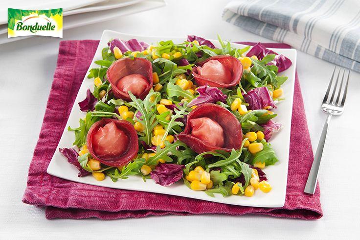 #Ravioli di #bresaola e #caprino con Amore di #Mais con #Rucola e #Radicchio . Scopri la #ricetta #Bonduelle:  http://www.bonduelle.it/ricette/ravioli-bresaola-caprino-amore-mais-rucola-radicchio/